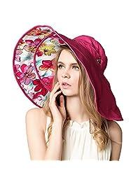 Xinqiao Women's Large Wide Brim Floppy Bucket Hat Sun Summer Beach Caps UPF 50+