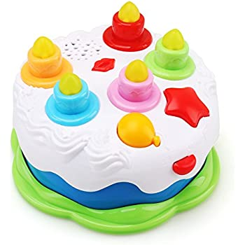 AmyBenton Kids Birthday Cake Toy For Baby Toddlers With Counting Candles Music Gift Toys 1 2 3 4 5 Years Old Boys And Girls
