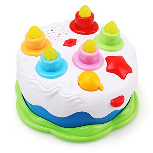 Amy&Benton Kids Birthday Cake Toy for Baby with Counting Candles, Music Pretend Play Cake for Toddler, Toy Cake for 1-5 Years Old