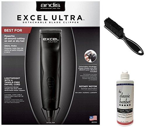 Andis Excel Ultra Detachable Blade Clipper Bundle Includes Classic Oil & Blade Brush by Andis