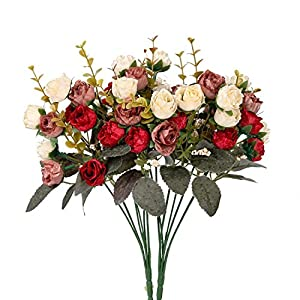 Houda Artificial Silk Fake Flowers Rose Floral Decor Bouquet,Pack of 2 (Red Coffee) 21