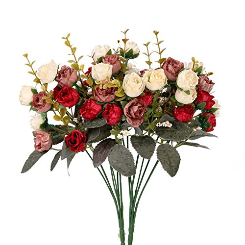 Houda Artificial Silk Fake Flowers Rose Floral Decor Bouquet,Pack of 2 (Red Coffee) (Peony Bouquet Rose)