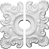"Ekena Millwork CM18CR2 18""W x 18""H x 3 1/4""ID x 1 1/2""P Crawley Ceiling Medallion, Fits Canopies up to 6-3/4"", 2 Piece"
