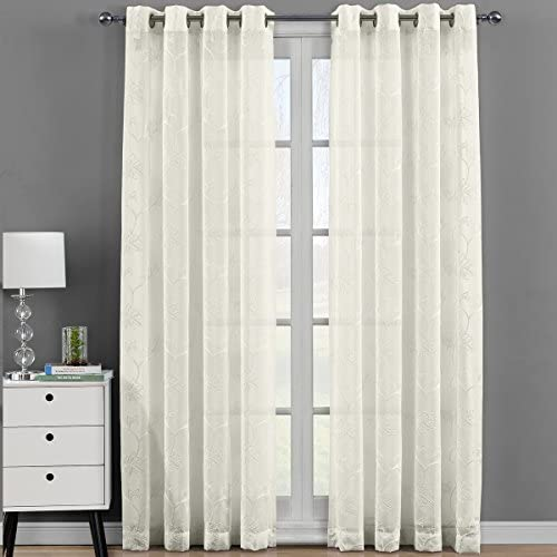 Royal Bedding Andora Beige Sheer Panels, Top Grommet Embroidered Sheer Curtain Panels, Set of 2, 54Wx108L inches Each