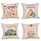 Steven.Smith 4 Pack Pumpkin Spice Quotes Happy Fall Throw Pillow Case Harvest Blessing Thanksgiving Cushion Cover 18 x 18 Inch Cotton Linen Autumn Farmhouse Decor (Pumkin Spice)