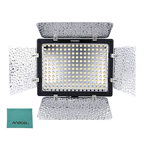 Yongnuo Pro YN-160 III 192 LEDs Video Studio Photography Light Lamp Adjustable Color Temperature 3200K-5500K for Canon Nikon Sony Pentax Olympus Camcorder DSLR Camera with Color Plates by Yongnuo