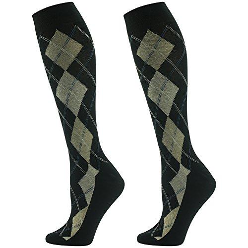 Argyle Dress Socks, SUTTOS mens funky socks Fashion Custom Elite Yellow Black Socks Jacquard Fun Pattern Knee High Trouser Socks School Knee High Socks Christmas Gift,2 Pairs ()