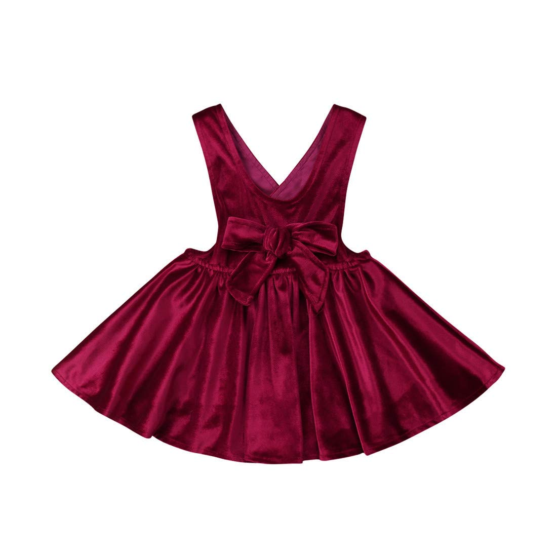 Jamlynbo Toddler Baby Girls Velvet Princess Dress Bowknot Suspender Skirt Ruffled Vintage Sundress