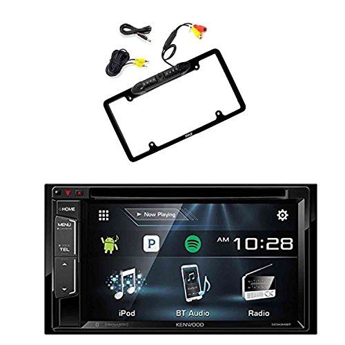 Kenwood DDX24BT Multimedia Bluetooth Receiver with Pyle PLCM16BP Car License Plate Frame Rear View Backup Camera