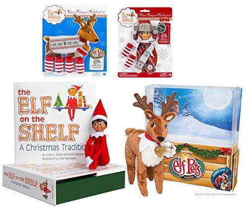 Elf on the Shelf Complete Holiday Gift Bundle: Boy Scout Elf (Brown Eyes), Cuddly Plush Reindeer Elf Pet, Christmas Tradition Storybook, A Reindeer Tradition Storybook, and (2) Matching Polar Pattern (Elf Hat Pattern)