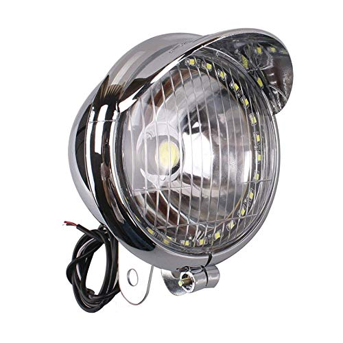 5 inch Motorcycle Front Lamp Light Chrome with 27 LED Angel Eye COB LED Headlight Universal for BMW 528I Harley Bobber Chopper Cruisers (Motorcycle Chopper Parts)