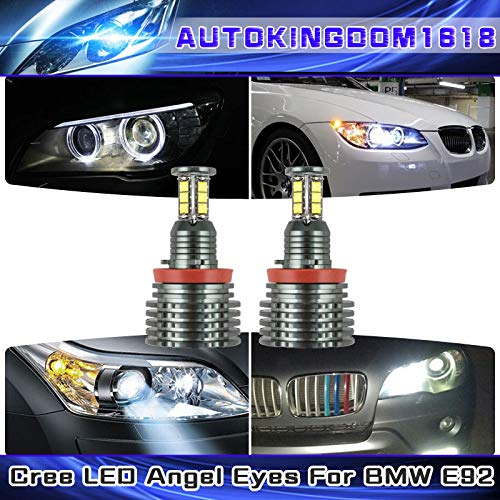 FidgetFidget 2X 6000K 240W H8 LED Angel Eyes Halo Ring Light No Error for BMW E92 E93 E63 ()