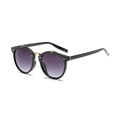 d21dc840d8 BVAGSS Fashion Round Retro Sunglasses Vintage Look Quality UV400 For Men  Women (Black frame with