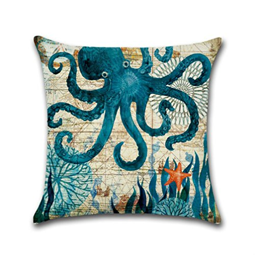 oFloral Octopus Throw Pillow Cover Cotton Linen Pillowcase Square Cushion Cover Home Sofa Bedroom Decorative 18