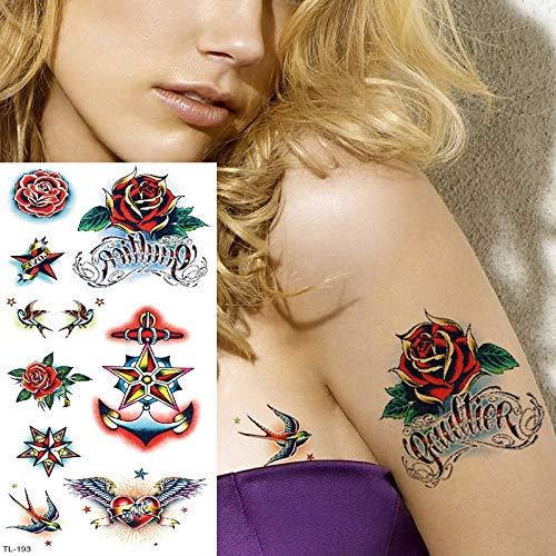 tzxdbh Tatuajes temporales Flor de Rosa Tatuaje Mujer niña Tatuaje ...