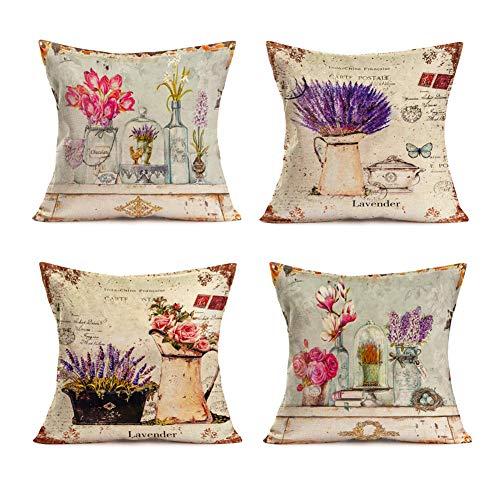 Smilyard French Vintage Euro Style Throw Pillow Covers Rose Tulip Lavender Flower PrintHome Pillow Case Cotton Linen Decor Balcony Sofa Bedroom 18x18 Inch Set of 4 (Flower - Park Velvet Place Sofa