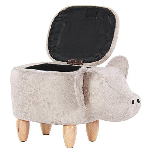 Artechworks Pig Shaped Animal Storage Ottoman Footrest Stool, Gray by Artechworks