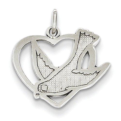 Or blanc 14 carats JewelryWeb Charm oiseau de la Paix
