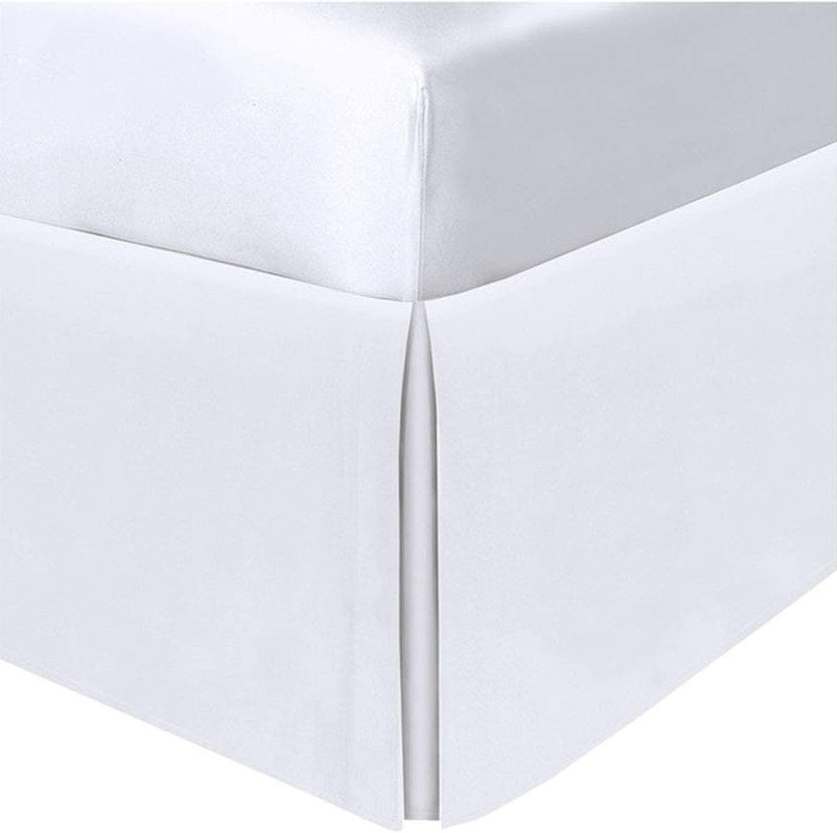 """Pacific Linens Bed Skirt - Solid White 200 Thread Count Durable Soft Poly-Cotton Blend True 15"""" Drop, Light Weight, Perfect Finish, Home Decor (Twin Size)"""