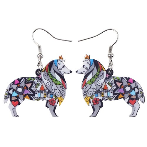 BONSNY Dog Collection Border ROUGH COLLIE Statement Acrylic Pop-Art Long Drop Dangle Women Earrings (Grey)