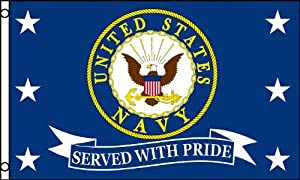 Served with Pride Flag (Navy) 3x5ft Poly