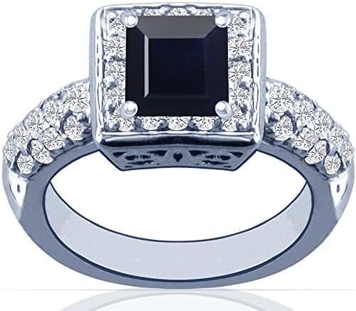 Platinum Princess Cut Blue Sapphire Ring With Sidestones