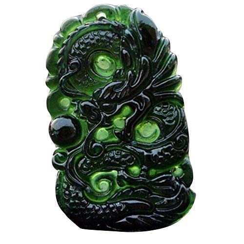 Good Ornament - SHZONS Chinese Dragon Jade Necklace Pendant Handmade Jade Desktop Ornaments for Study Office Crafts Good Luck Amulet