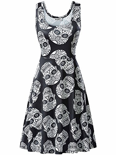 HUHOT Black Scary Dress Sleeveless Halloween Party Midi Dress for Cospaly (Small, 17039-9) -