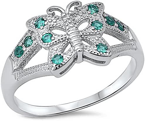 Simulated Emerald Butterfly .925 Sterling Silver Ring Sizes 5-9
