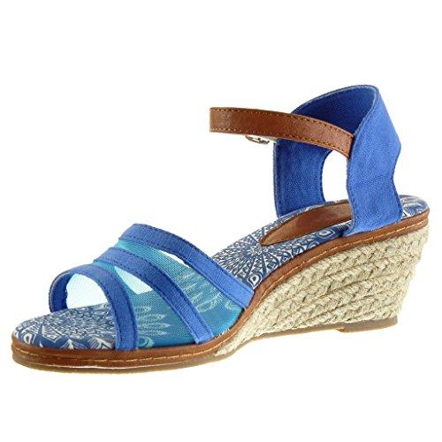 Angkorly - Scarpe da Moda sandali Mules con cinturino alla caviglia donna multi-briglia fishnet corda Tacco zeppa piattaforma 7 CM - Blu
