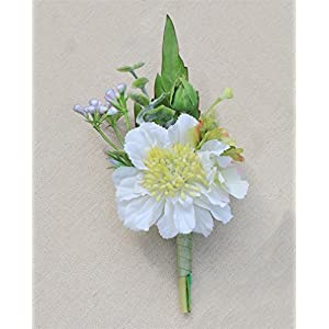 Jackcsale Boutonniere Bridegroom Groom Men's Boutonniere Boutineer with Pin for Wedding Prom Homecoming 106
