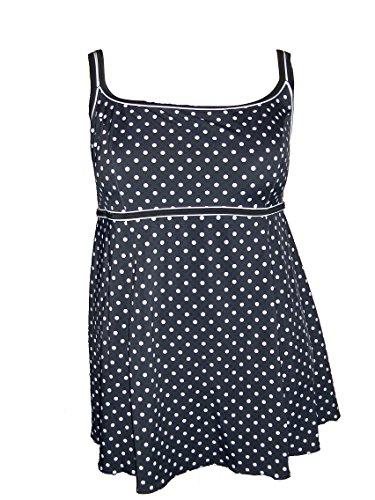 Longitude Plus Size Swimdress Swimsuit Dot 18-24 (20W, Black/White)