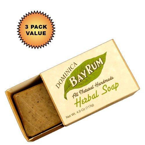 Dominica Bay Rum Herbal Soap 4oz. :: 3 Pack - Caribbean Rum Bay