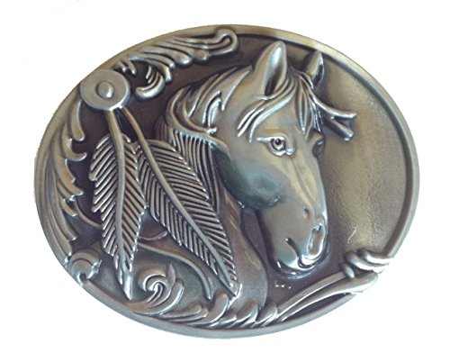 Diesel Buckle Closure Belt (3D Horse Head Stallion Pony Club Mare,Belt Buckle for Leather)