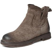 Desirca Genuine Leather Chelsea Boots Women Slip-On Round Toe Low Heel Women Short Motorcycle Boots Winter Shoes Women