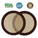 Silicone Baking Mats, 2-Pack Non-stick Silicone Baking Sheet Liner, Reusable Heat Resistant Baking Pastry Sheets for Bake Pans/Rolling/ Macaron/Cookie (Round 9'', Brown)