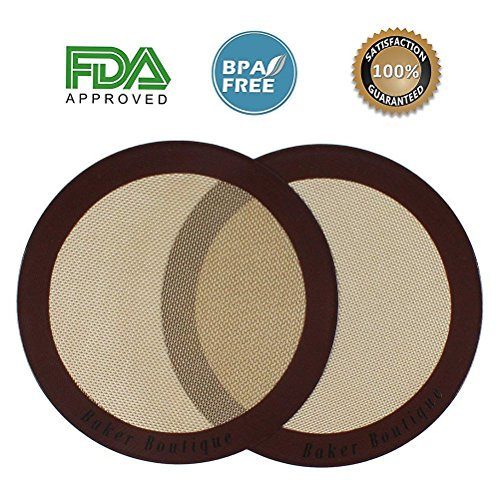 Silicone Baking Mats, 2-Pack Non-stick Silicone Baking Sheet Liner, Reusable Heat Resistant Baking Pastry Sheets for Bake Pans/Rolling/ Macaron/Cookie (Round 9, Brown)