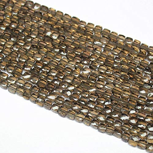 GemAbyss Beads Gemstone Smoky Quartz Faceted Square Box Cube Gemstone Loose Craft Beads Strand 10 Inch Long 6mm 7mm Code-MVG-27414
