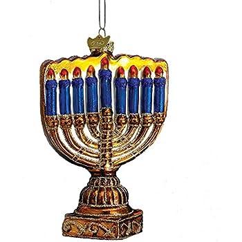 Noble Gems Kurt Adler 4-1/2-Inch Glass Menorah Ornament