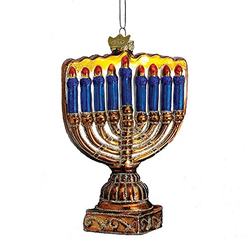 Noble Gems Kurt Adler 4-1/2-Inch Glass Menorah Ornament -