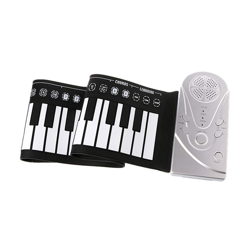 49 Key Speaker Hand Roll Electronic Piano, Portable Folding Electronic Soft Keyboard Piano Suitable for Adult Children Or Gifts for Children(Silver) by C Five (Image #2)