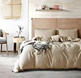 master bedroom bedding  Pom Poms 3 Piece Duvet Cover Set (1 Duvet Cover + 2 Pillowcases) Stone-Washed Brushed Luxury 100% Super Soft Microfiber Bedding Collection (Khaki/Camel, Queen)
