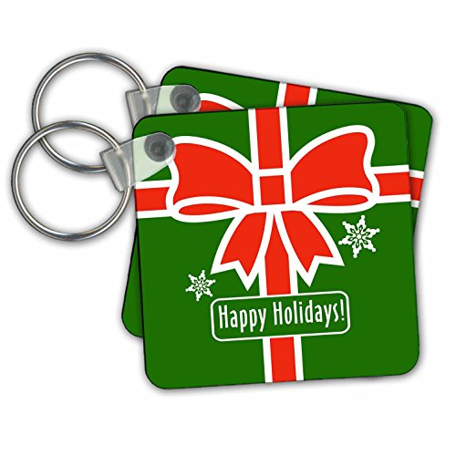 stmas Designs - Happy Holidays- Green Square Design with Red Ribbon and Snowflakes - Key Chains - set of 4 Key Chains (kc_262030_2) (Snowflake Design Key Ring)