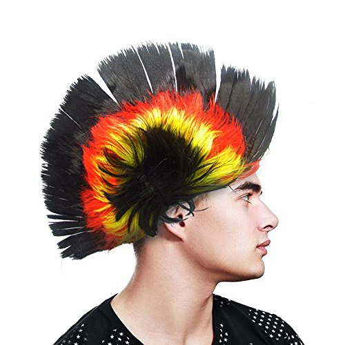 Light-up Blinking LED Party Punk Mohawk Wig – Teens and Adult – Rave Party, Clubs, Sporting Events, Concert, Costume, Halloween – Black -