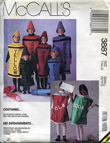 McCall's Costumes Pattern 3887 Misses' or Men's Crayon and Soda Can, Small (Bust/Chest 32 -
