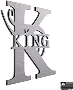 "JASS GRAPHIX King 12"" Brushed Aluminum Monogrammed Sign Door Wall Decor Last Name Signs for Home"