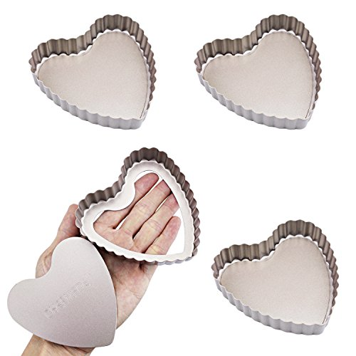 CHEFMADE 4Pcs Non-stick 4 Inch Heart Shape Quiche Pan with Removable Loose Bottom, Heavy-duty Carbon Steel FDA Approved, Oven Roasting Baking Mini Tart Pan (Champagne Gold)