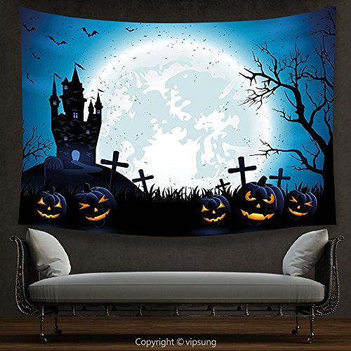 House Decor Tapestry Halloween Decorations by Spooky Concept with Halloween Icons Old Celtic Harvest Festival Figures in Dark Image Decor Blue Wall Hanging for Bedroom Living Room (Halloween Harvest Festival United States)