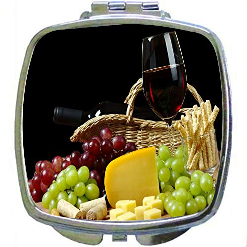 Square Compact Mirror Personal Mirror - Cheese and Wine in Hamper