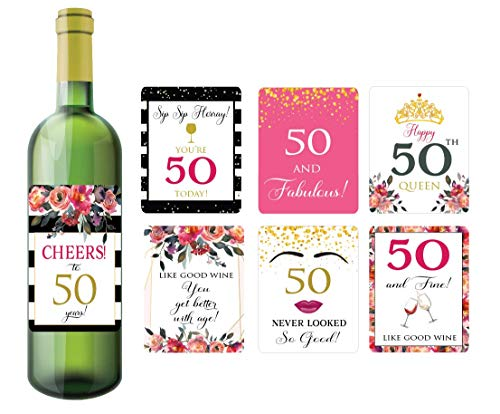 (50th Birthday Wine Bottle Labels, Set of 7 Wine Bottle Label Stickers, 50th Birthday Gift Ideas)
